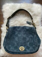COACH  Bag 65th Anniversary Hand Bag D0769-11138 Blue Suede Leather Purse Legacy
