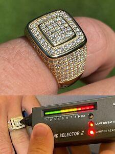 Real 14k Gold Vermeil Men Hip Hop Iced 1.8ct Moissanite Ring Pass Diamond Tester