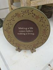 """Primitive Painted Wooden Decorative Plate """" Making a Life...... Pip Berries"""