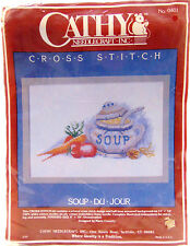 NEW Vintage 1985 Cathy Needlecraft Stamped Cross Stitch Soup du Jour Kit 0401