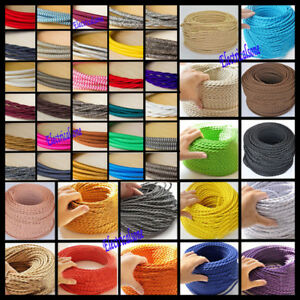 Fabric Braided Wire Lighting Flexible Cord 2/3 Core Twisted/Round Wiring Cable