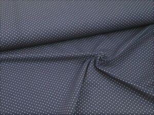 Jerseystoff / Baumwolljersey - Weiße Punkte auf Marine - ab 25cm (10,80€/m)