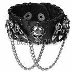 Men Women Gothic Black Leather Skull Cross Rivet Bracelet Punk Halloween Jewelry
