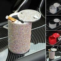 Car Ashtray Aluminum Silver Diamond Cigarette Smokeless Cup Holder Fireproof