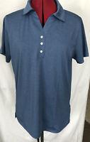 Pebble Beach Performance Womens Golf Tennis Polo Shirt Blue Short Sleeve Size L