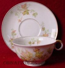 HAVILAND china AUTUMN LEAF gold trim CUP & SAUCER Set