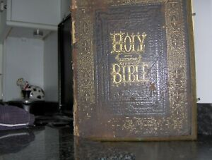 Large Brass Bound Holy Bible Appr. 1860 for Restoration Project.17 Colour Plates