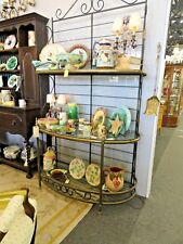 Antique Iron Baker's Rack with Glass Shelves