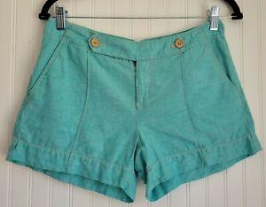 Ann Taylor Loft Linen Blend Shorts Size 0 Light Green Pre-Owned Good Condition