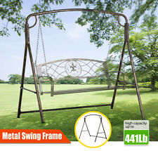 Hanging Swing Frame Finished Outdoor Metal Swing A Stand Backyard Lawn Bronze