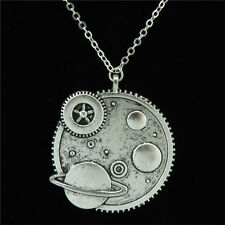 14-2 Silver Alloy Planet Universe Earth Pendant Short Chain Collar Necklace 18""