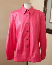 St. John Sport Marie Gray PINK Genuine Leather Jacket Sz L Blazer Button Front