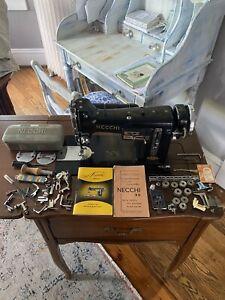 Necchi Model BUVintage Sewing Machine, + Accessories, Orig Manual