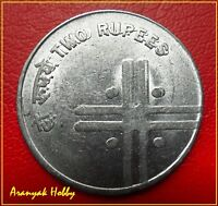 2005 Rupees 2 FSS cross rare double die error coin. Difficult to get this coin !