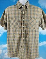 CARHARTT Button Up Shirt Men's Large Tall Plaid Short Sleeve