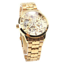 Winner Men Dial Mechanical Skeleton Automatic Watch Wristwatch Golden Q5J1