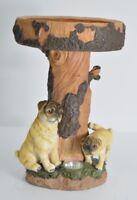 Gardenwize PUG Puppy Dog Birdbath Table Garden Bird Bath Feature and Solar Light