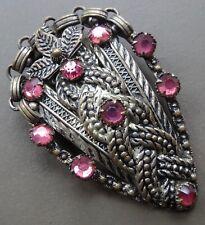clip brooch gold tone -H56 vintage art deco pink rhinestone dress