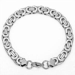 Men's Bracelet Curb Chain 0 1/4in 750er White Gold 18K Plated Silver B2324-3