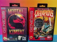Mortal Kombat + Eternal Champions - Sega Genesis Rare Game Tested Lot 1-2 Player
