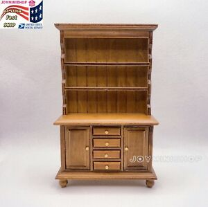 1/12 Dollhouse Walnut Miniature Wood Multifunction Cabinet Bookcase Furniture