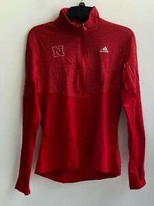 Adidas Women's Red Long Sleeves Climalite 1/2 Zip Performance Pullover Shirt, M
