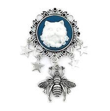 Steampunk Cat & Bumblebee Star Charm Cameo Brooch - Silver Tone - New & Handmade