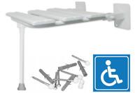 Duschklappsitz mit Stützbein für barrierefreies Duschsitz Duschhocker Stuhl