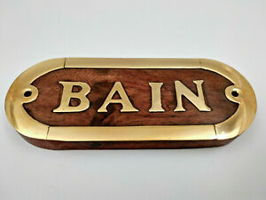 Plaque de porte bois et laiton BAIN longueur 12,5cm pour la maison le bateau...