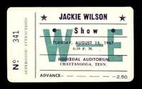 JACKIE WILSON 1967 HIGHER & HIGHER UNUSED CHATTANOOGA CONCERT TICKET / NM 2 MINT