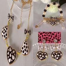 Betsey Johnson fashion jewelry white dot peach heart necklace bracelet earrings