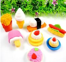 8 pcs + Novelty food fruits 2D/3D Removable Eraser Rubber Stationery Kid Gift
