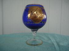vintage antique bohemian cobalt blue & gold large brandy balloon vase