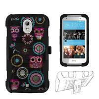 For HTC Desire 526 Owl Design Hybrid Shell Case w/ Kickstand & Holster