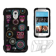 For HTC Desire 526 Owl Design Hybrid Shell Case w/ Kickstand & Holster
