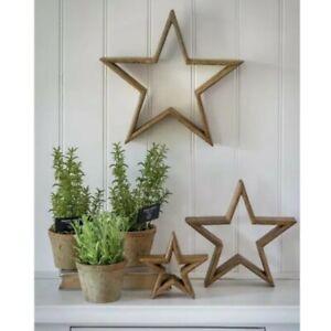 Set Of 3 Natural Wooden Mantel Stars