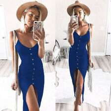 Women Holiday Strappy Button Front Split Ladies Summer Beach Midi Bodycon Dress 16 Deep Gray