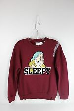 "Disney ""Sleepy"" Long Sleeve Burgundy Fleece Lined Sweatshirt... size Juniors XS"