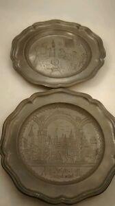 Lot of 2 highly details  Antique German pewter etched plates marked  folk arts