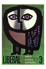 WHEN OTHERS SLEEP POSTER Celestino Piatti Switzerland 1968 24X36 Owl