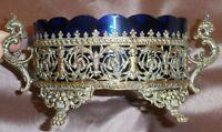 Jardinière Napoléon III - Bronze ou laiton & verrine bleue - Griffons & Putti