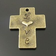 16pcs Antiqued Bronze Vintage Alloy Love Pattern Cross Pendant Charms 33693