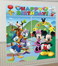DISNEY MICKEY MOUSE Clubhouse Scene Setter HAPPY BIRTHDAY party wall decoration