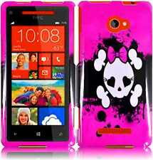 For HTC Windows 8X  HARD Protector Case Snap On Phone Cover Pink Skull