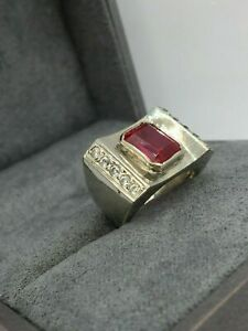 Bold And Brilliant Engagement Anniversary Men's Ring 14K White Gold 2.31 Ct Ruby