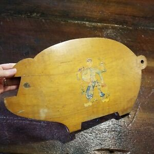 Vintage Pig Shaped Wooden Cutting Board