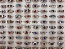 Wholesale Mixed Jewelry Lots 10pcs Men's Silver Plated Rhinestone Rings Free