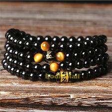 Black Agate 108 Beads Bracelet Tiger Eye Chain Bead Bracelet