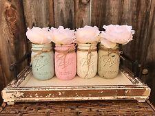Hand Painted Shabby Chic Chalk Paint Mason Jar Wedding Baby Shower Home Decor