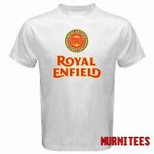 Royal Enfield Motorcycle Retro Racing Logo Men's White T-Shirt S to 3XL
